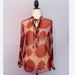 Jack Rogers silk sheer blouse